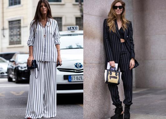 A miniature Chanel Boy bag, and a miniature Céline Luggage bag, both worn with stripes on the Milan pavement. Photo: Elizabeth Khan-Greig