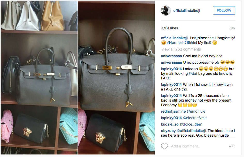 ed272b76ac5 Linda Ikeji Is Carrying FAKE Hermes Birkin Bag