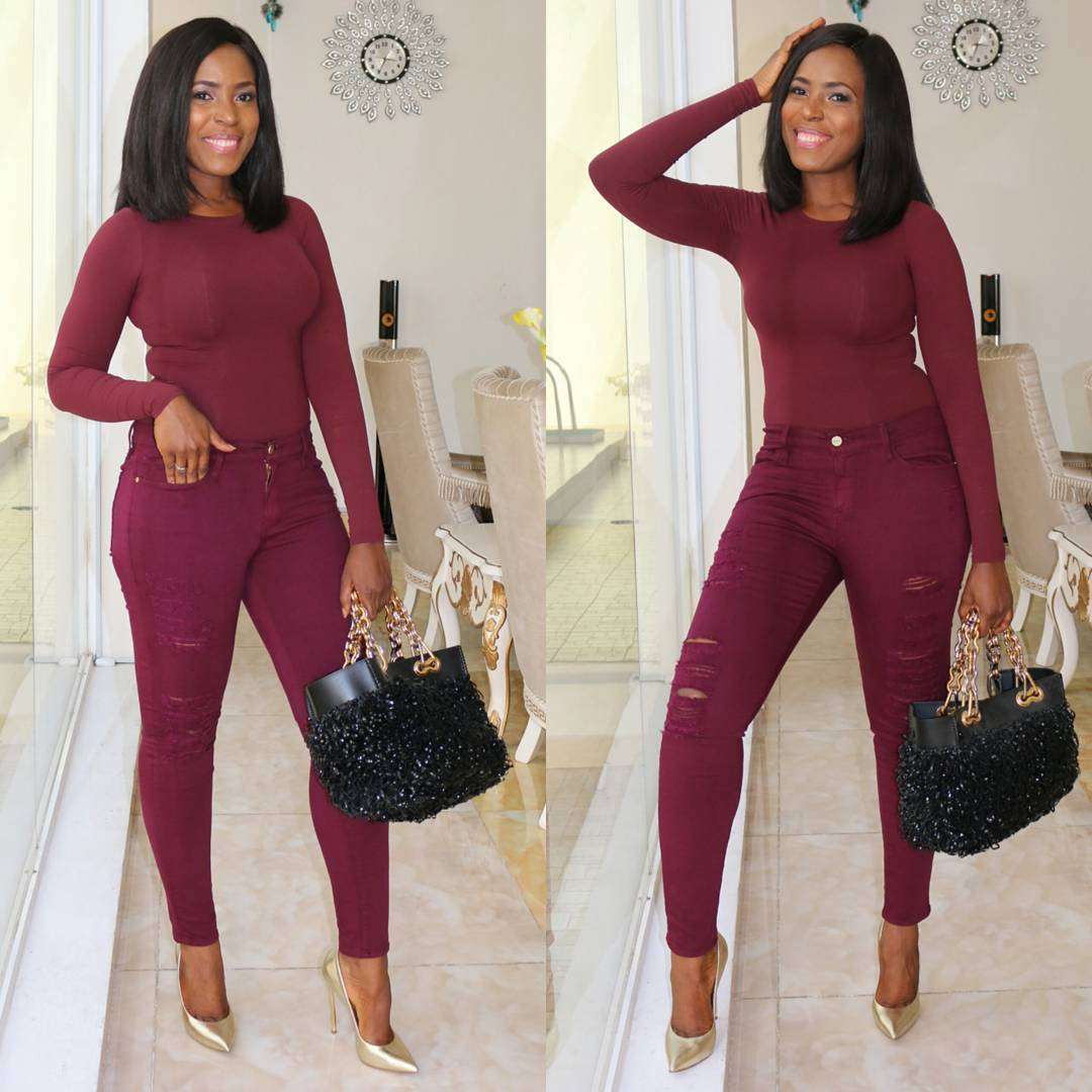 Burgundy Dress And Heels A Touch Of Gold