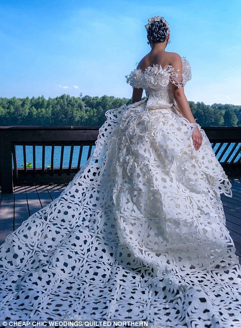 e09e1ebf2e9e Kari dreamed up a beautiful wedding gown that featured a 6-foot detachable  cathedral train and it was looking so real. Keep clicking to see the gowns