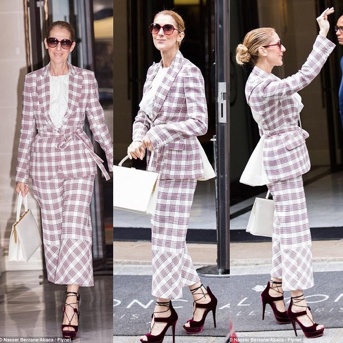celine dion checkered blazer