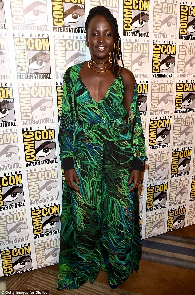 lupita-nyongo-palm-prints-jumpsuit-comic-con-fashionpolicenigeria