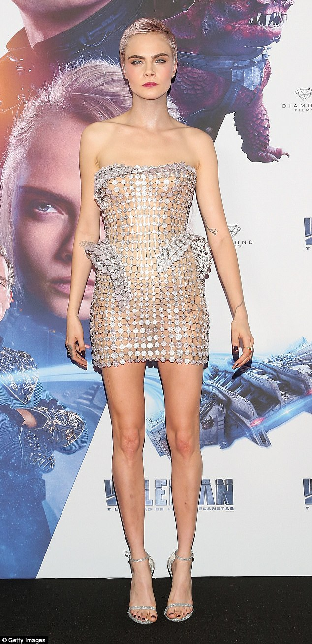 Cara-Delevingne-embellished-chainmail-naked-dress-mexico-valerian-premiere