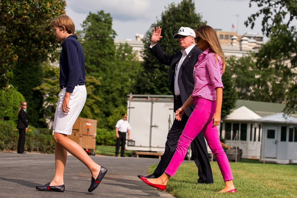 Melania-Trump-Pink-Gingham-Outfit-August-2017