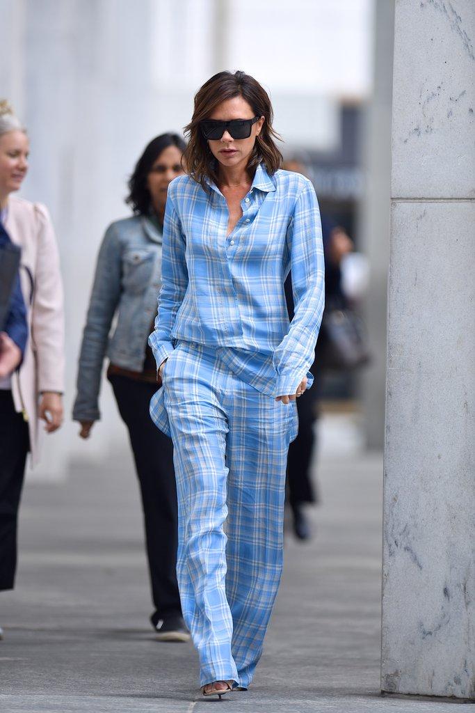 Victoria-Beckham-Blue-Plaid-Pajama-Outfit-Fashionpolicenigeria