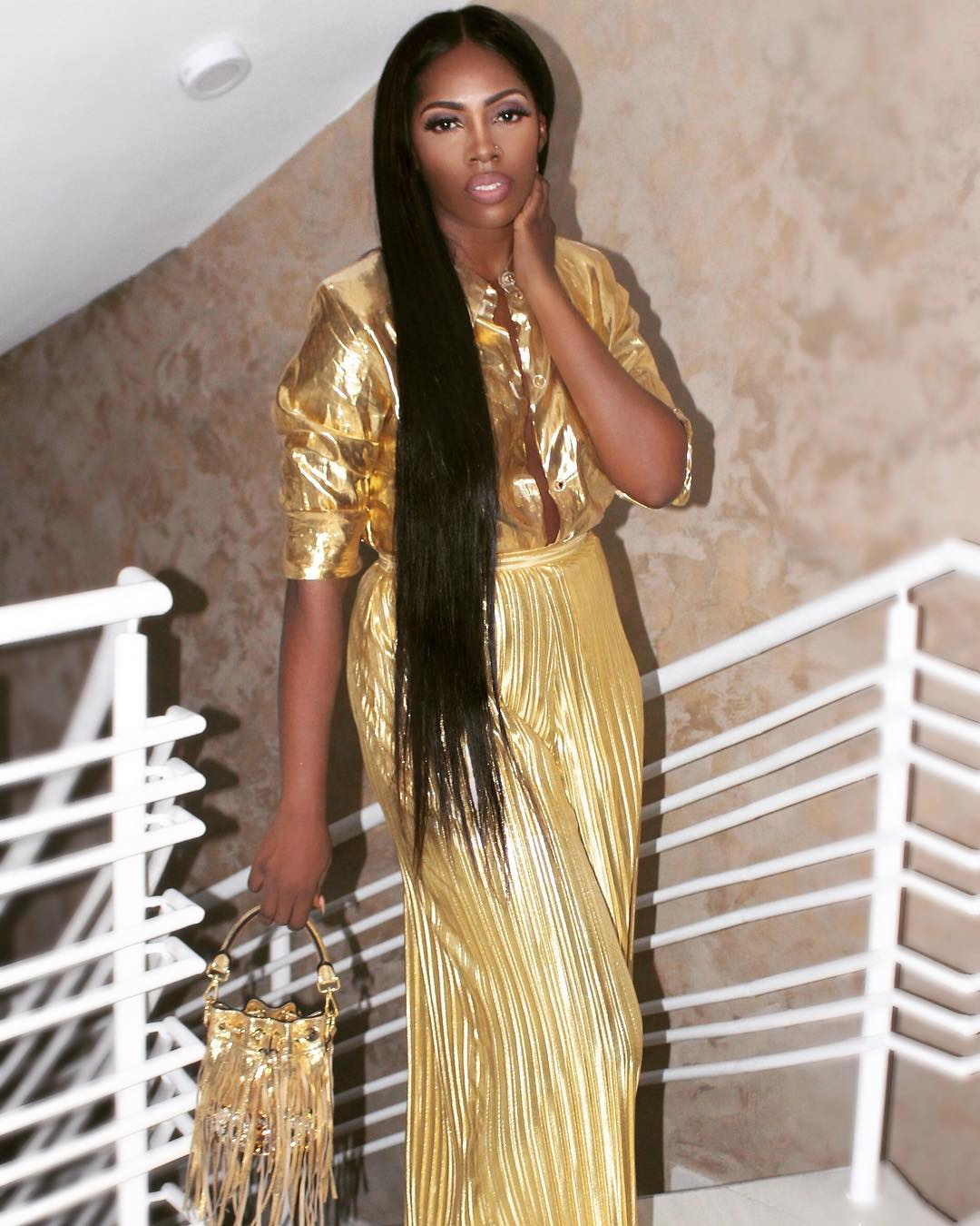 Tiwa Savage Super Long Hair