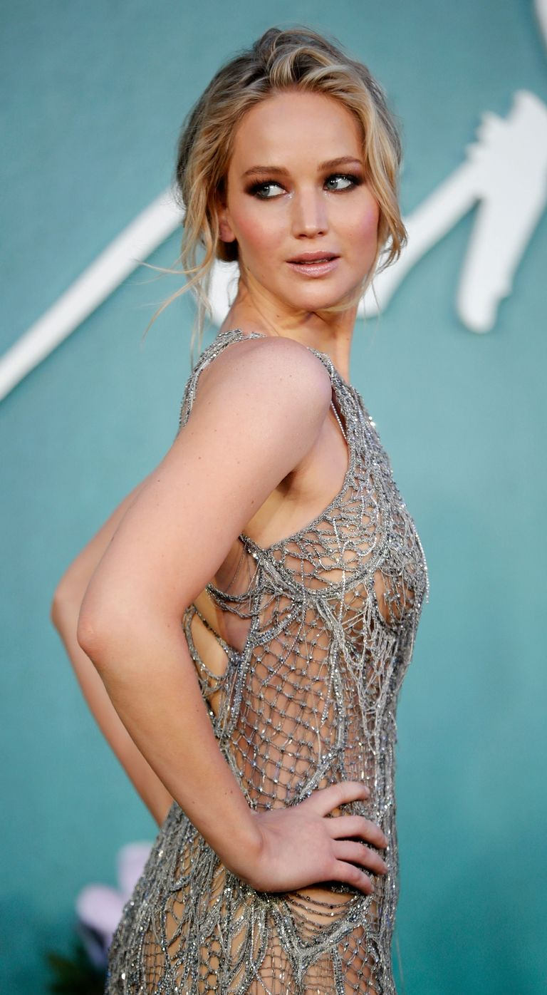 Jennifer Lawrence Cobweb Naked Dress Dior