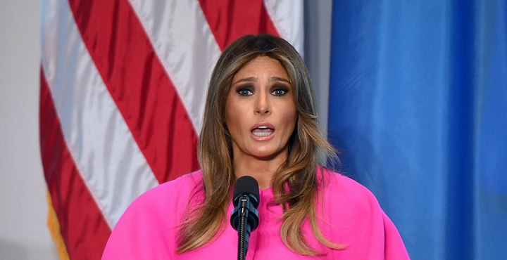Melania Trump Pink Delpozo Dress United Nations