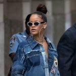 Rihanna Patchwork Denim Shirt Dress