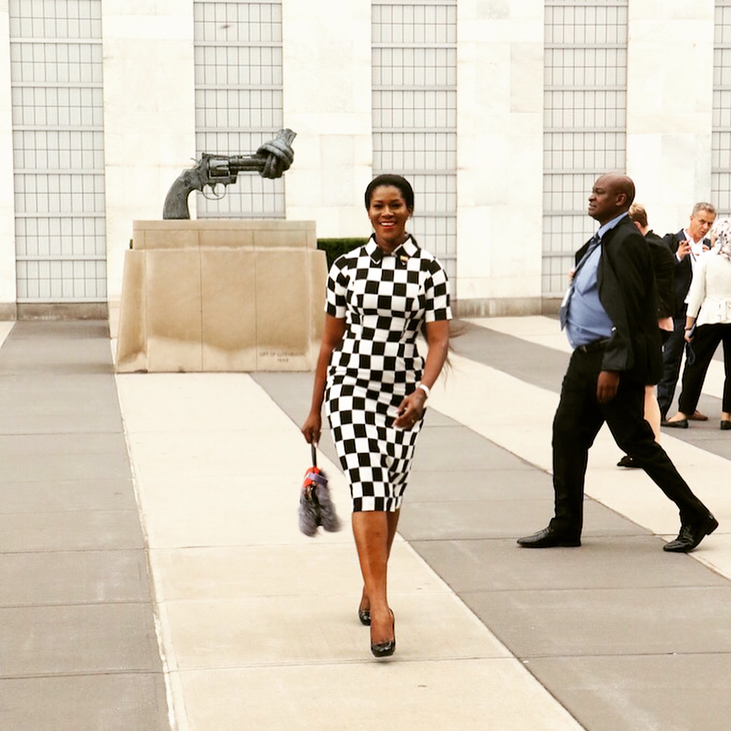 Stephanie Okereke Monochrome Dress UN General Assembly