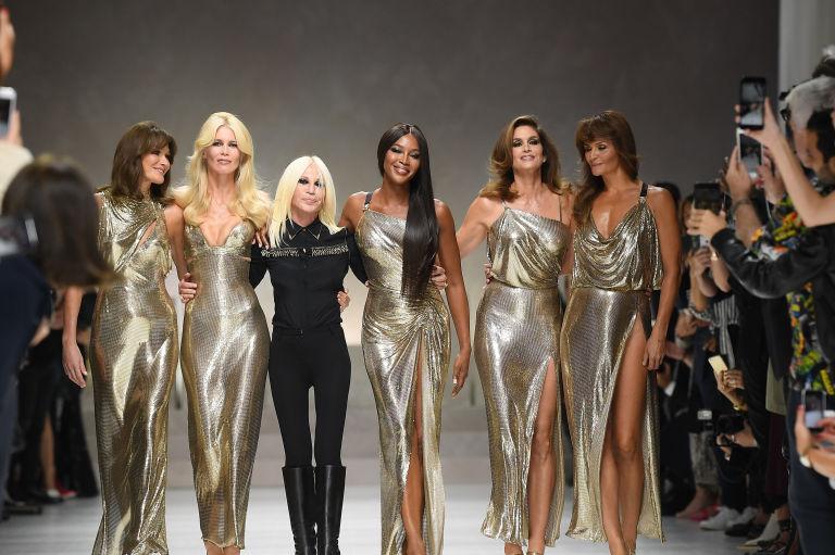 Supermodel Reunion Versace Spring 18 Show MFW