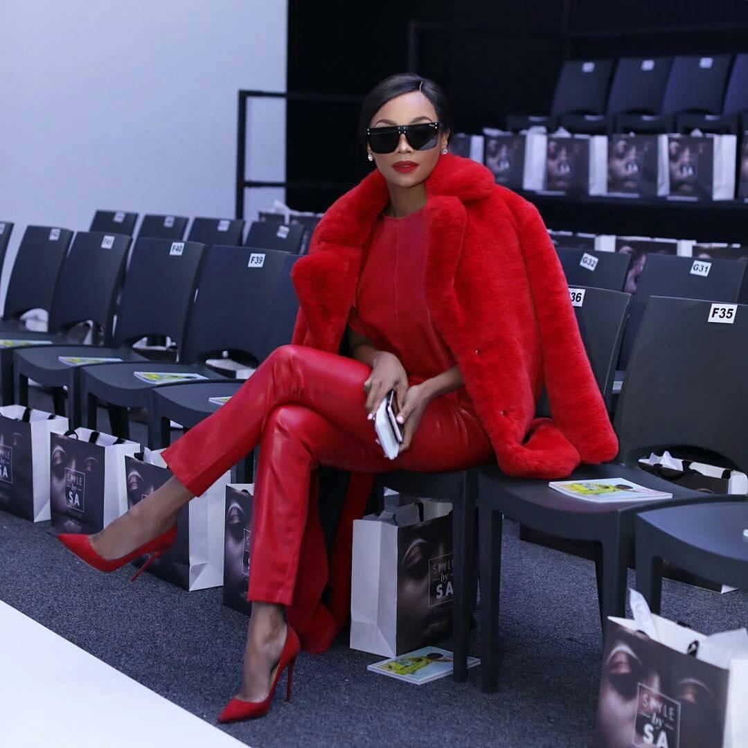Bonang Matheba All-Red Outfit SA Fashion Week