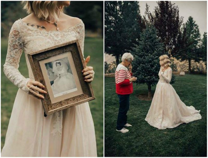 Bride Wears Grandma Wedding Dress