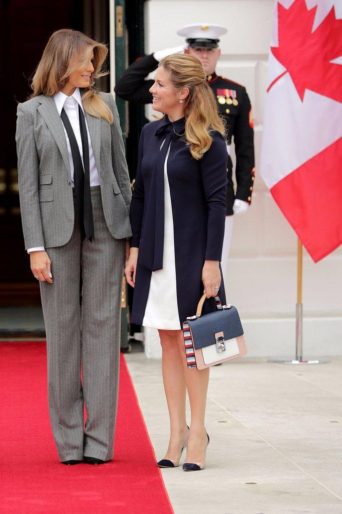 Melania Trump Pinstripe Suit Ralph Lauren