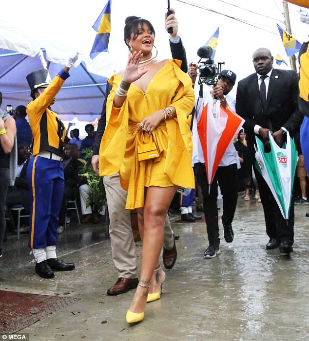 Rihanna Yellow Dress Rihanna Drive Naming Ceremony Barbados