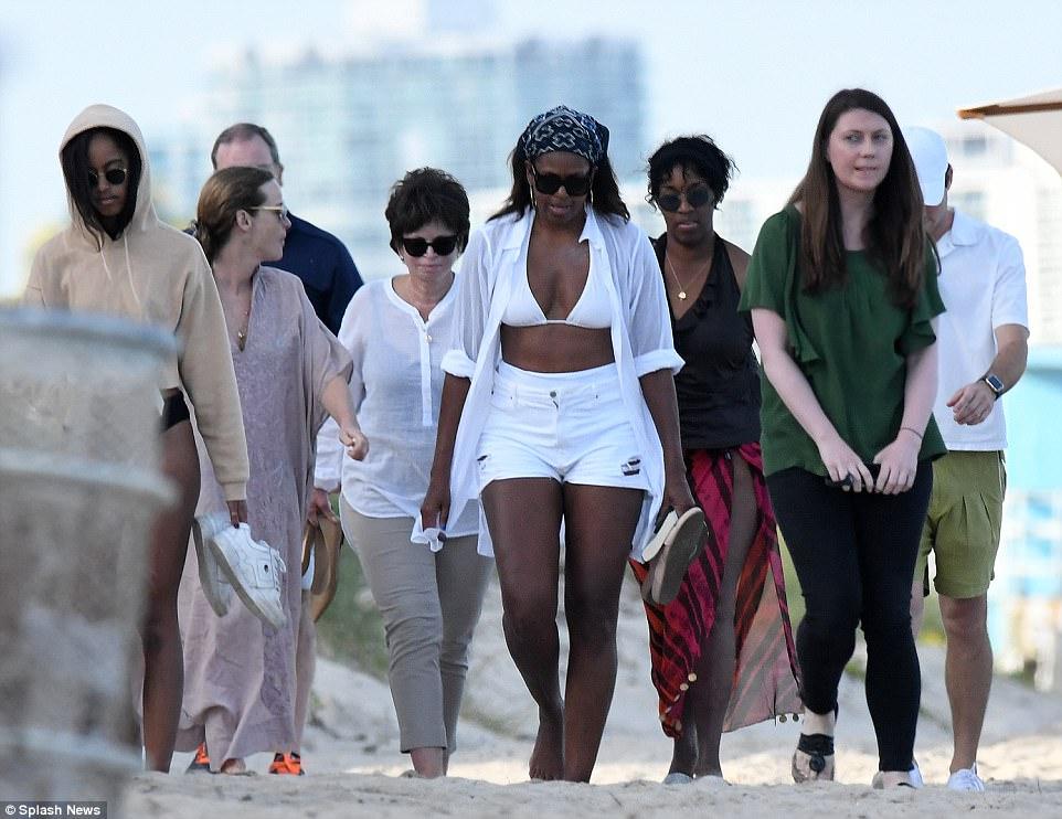 Michelle Obama White Bikini Miami Beach