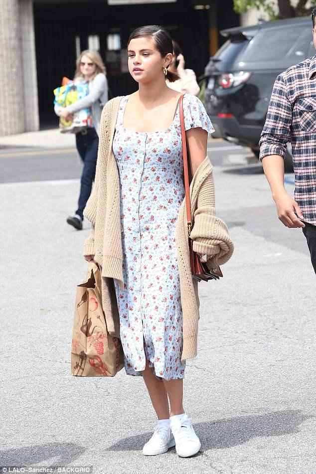 Selena Gomez floral dress Easter Sunday church