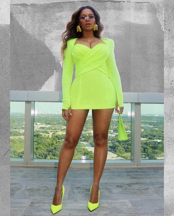 Beyonce Wearing Neon Green Dress