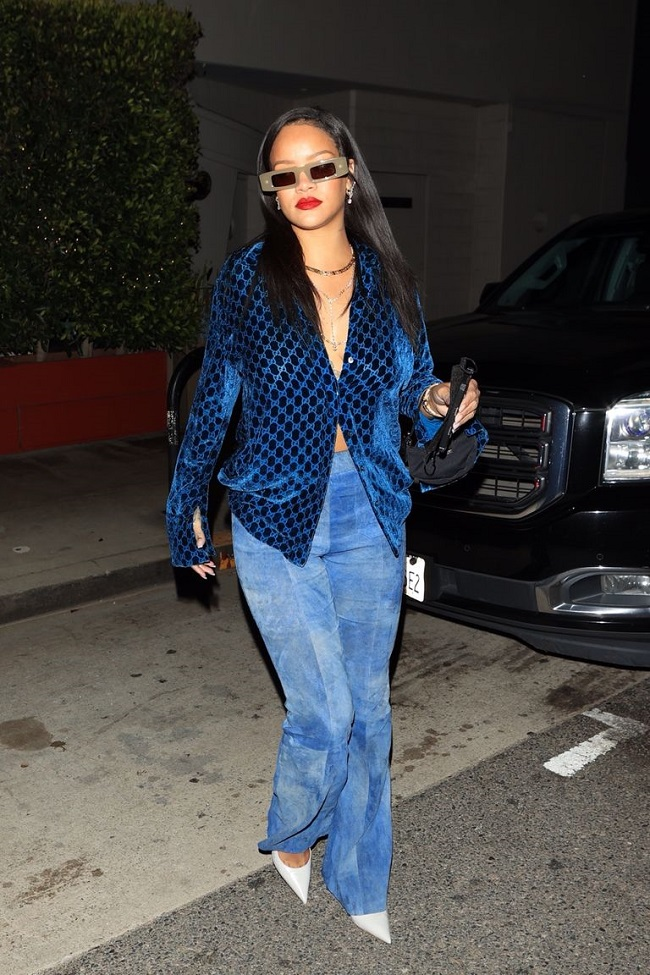 Rihanna Gucci's Vintage Blue Shirt and Denim Pants Look
