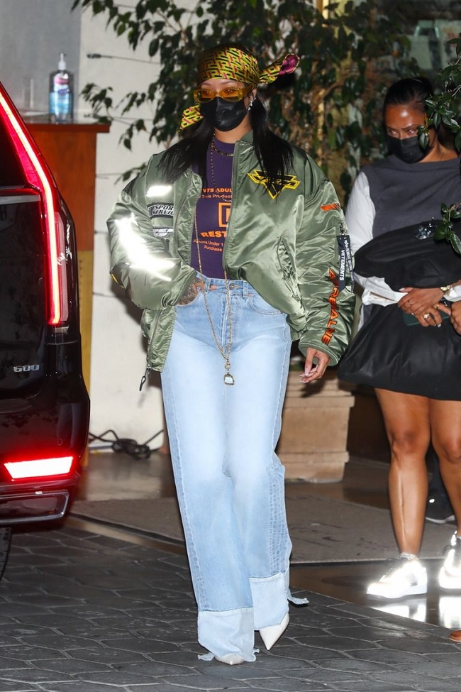 Rihanna Attends Oscar 2021 After-Party In Vetements Jacket