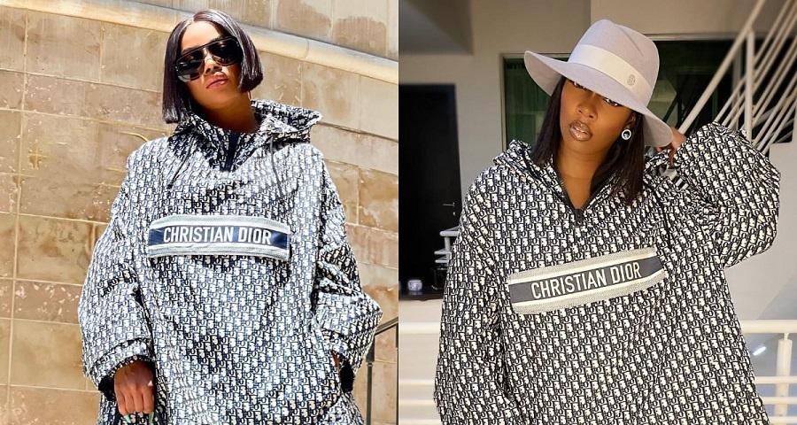 Tiwa Savage Twins Toke Makinwa In Dior Monogrammed Hooded Mini Dress