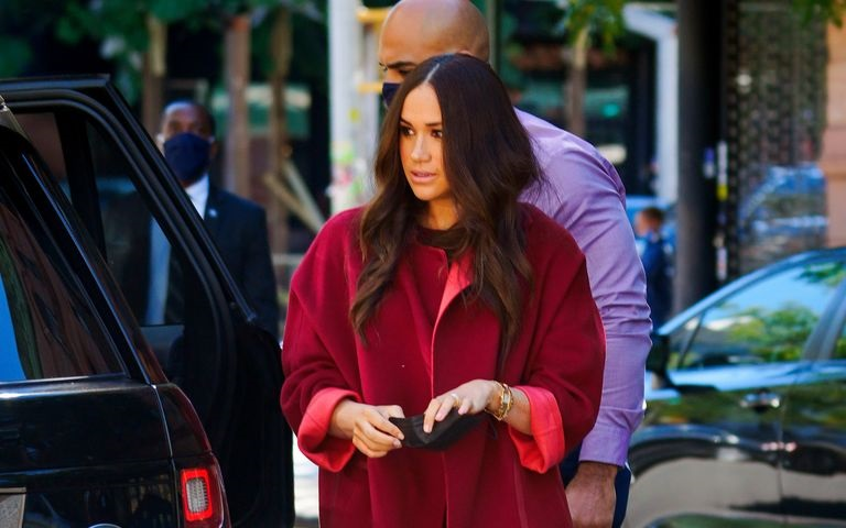Meghan Markle Red Suit Wore During Her Visit to P.S. 123 Mahalia Jackson School in Harlem