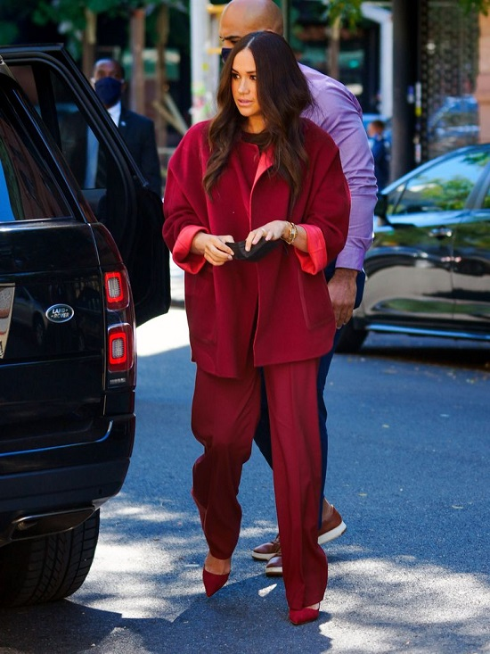 Meghan Markle Red Suit Worn During Her Visit to P.S. 123 Mahalia Jackson School in Harlem
