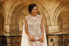 Bonang Matheba Wore A Sheer Dress With The Longest Cape At 2016 Spectacular Awards