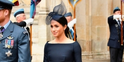 Meghan Markle Looks First Class In A Navy Dress For RAF Centenary Celebrations