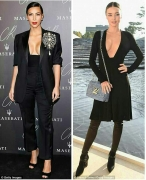 Copycat: Miranda Kerr copies Kim Kardashian in similar plunging black top and slicked back hair