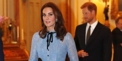 Kate Middleton Flaunts Her New Baby Bump In A Lacy Blue Dress