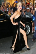 Lady Gaga Looks Amazing In A Thigh-High Slit Gown
