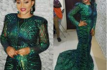 Mercy Aigbe Is A Green Barbie In A Sparkling Mermaid Dress
