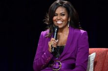 Michelle Obama Just Wore a Purple Suit and a Sequined Bustier