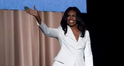 Michelle Obama Goes Head-To-Toe In White Pantsuit