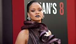 Rihanna Wore Heavily Structured Purple Dress Last Night