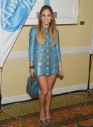 Jennifer Lopez makes daring fashion choice by wearing head-to-toe blue snakeskin print at American Idol