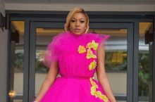 Chika Ike Wore a Gorgeous Pink Dress To Promote Her New Beauty Line