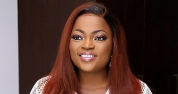 Funke Akindele Shows Off Her First Pregnancy In A Pinafore Denim