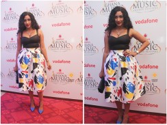 Juliet Ibrahim Looked Fab in Paint Splash Print Flared Skirt