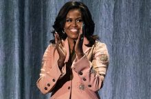 Michelle Obama Sparkles In An Embellished Pink Suit