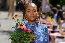 Models Walked The Runway Carrying Green Plants At Kate Spade New York