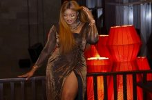 Omotola Jalade Stepped Out for Rukky Sanda's Birthday in a Thigh-High Slit Dress