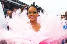 Rihanna Arrived The Crop Over Festival In Barbados Like A Real-Life Queen Of Feathered Dress